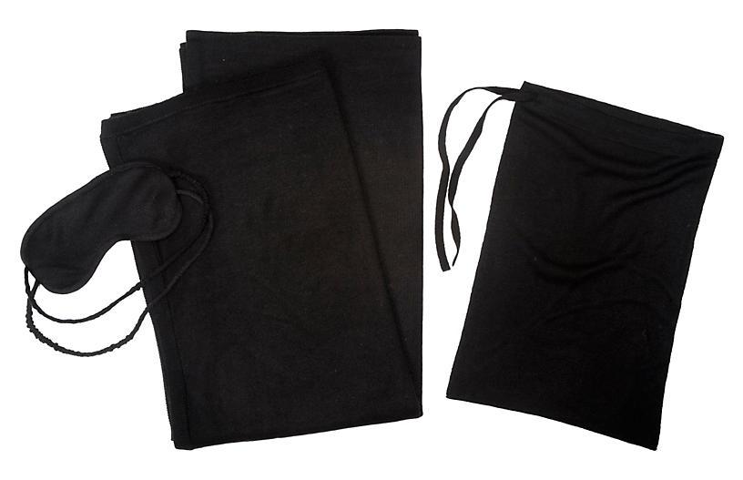 Cashmere-Blend Travel Set, Black