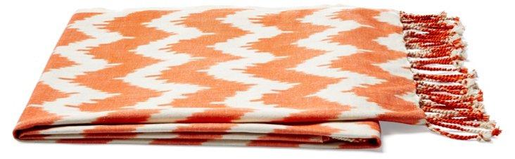 Ikat Cotton Throw, Orange