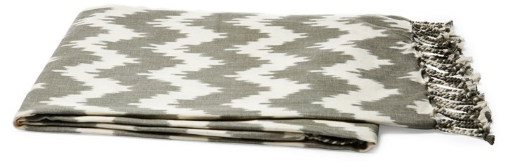 Ikat Cotton Throw, Gray