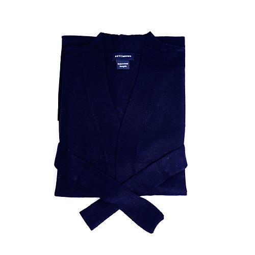 Cashmere-Blend Robe, Navy