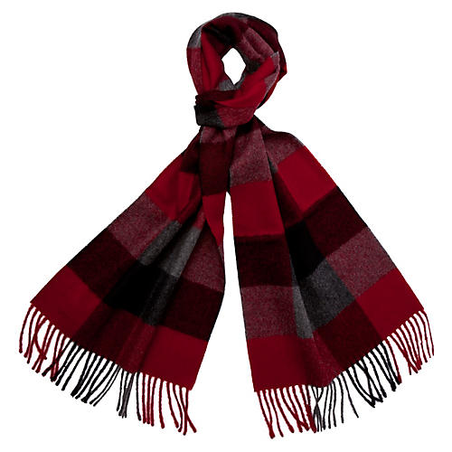 Men's Alpaca Wool Check Scarf, Crimson