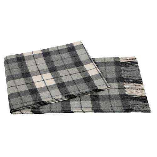 Plaid Alpaca Wool Throw, Gray/Cream