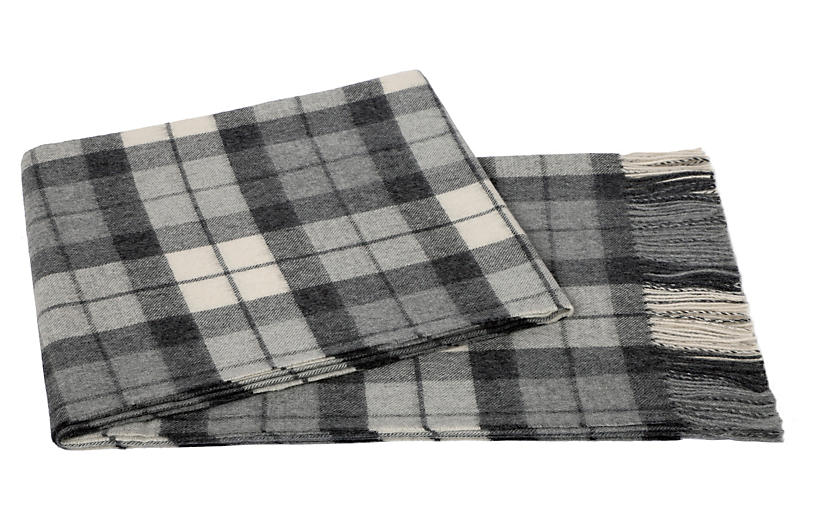 Plaid Alpaca Wool Throw, Gray/Cream