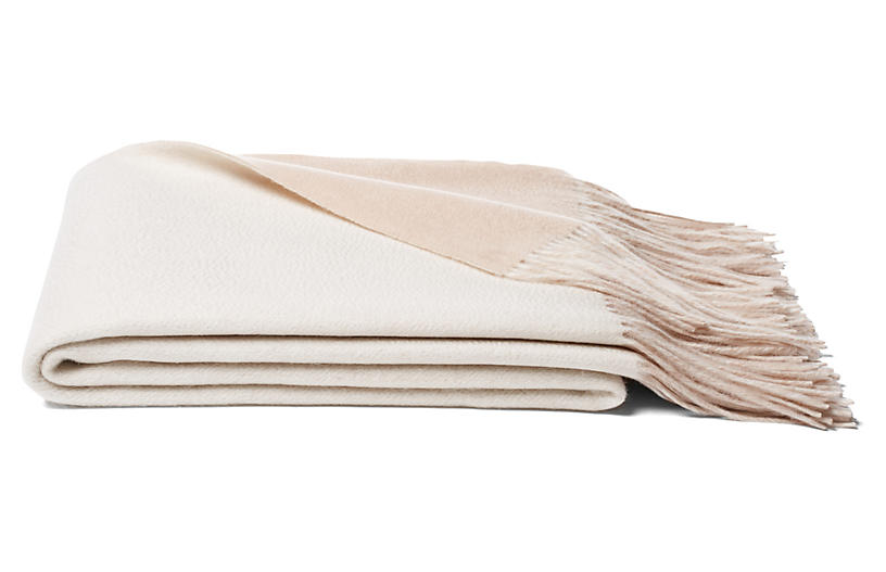 Reversible Cashmere-Blend Throw, Oatmeal