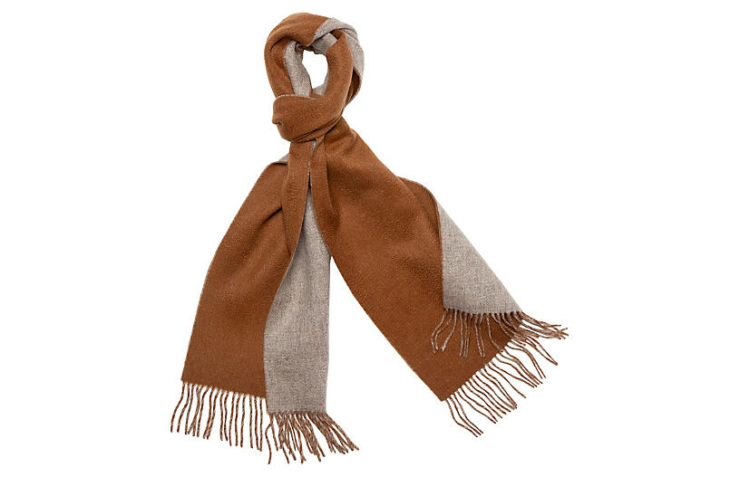 Reversible Cashmere Scarf, Camel/Taupe
