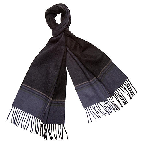 Striped Cashmere Scarf, Black/Indigo