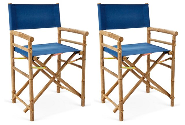 Blue Outdoor Director's Chairs, Pair