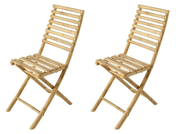 Outdoor Bamboo Chairs, Pair