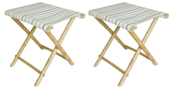 Pale Striped Foldable Stools, Pair