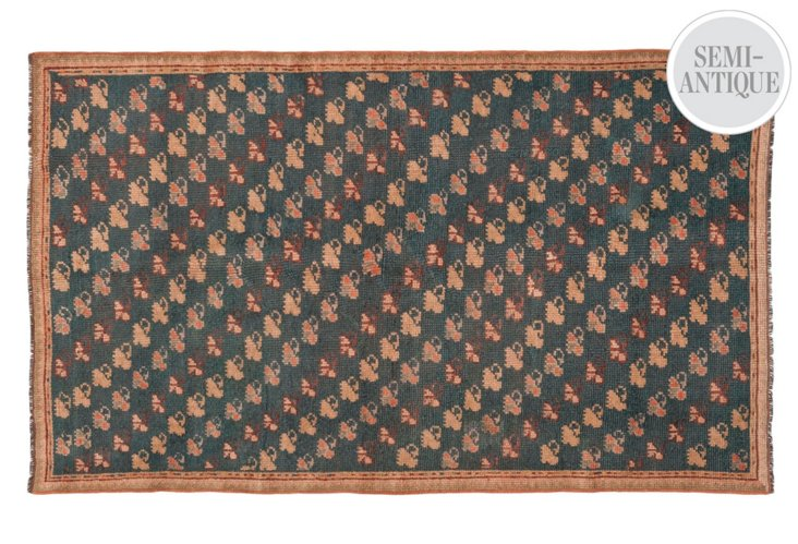 "4'3""x7'7"" Oushak Rug, Teal/Honey"