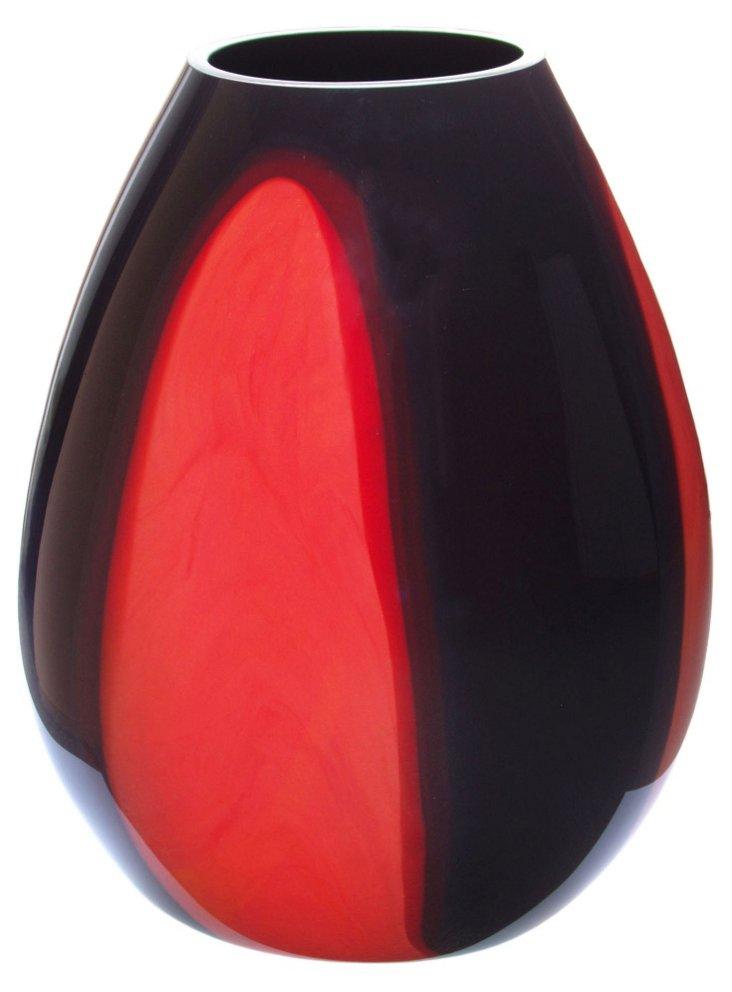 Milan Glass Vase, Red/Black