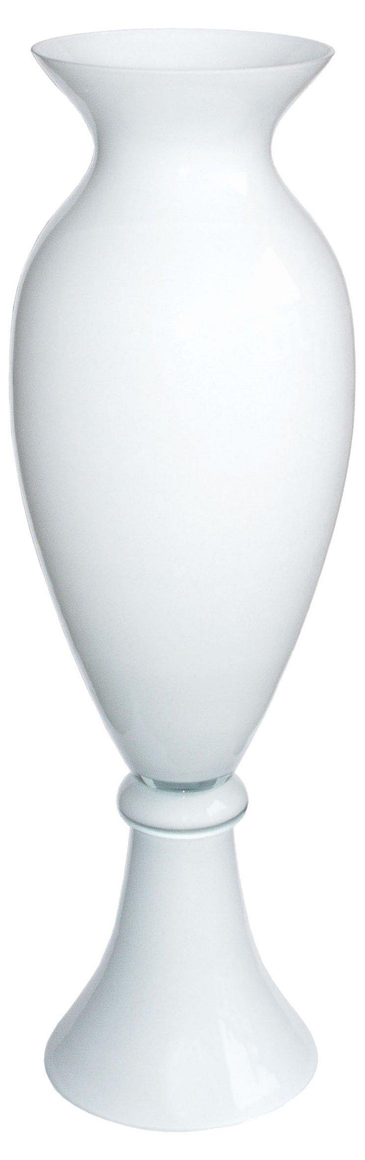Atlantic Glass Vase, White
