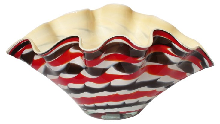 Clam Glass Bowl, Red/Black