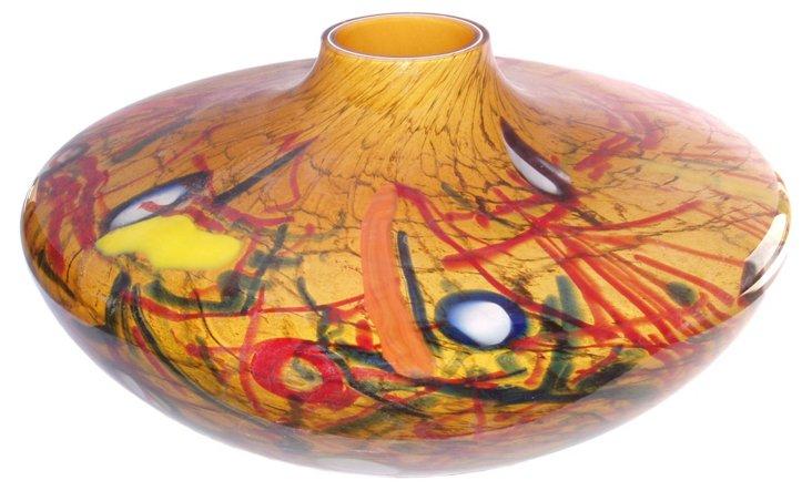Florence Glass Vase, Amber/Multi