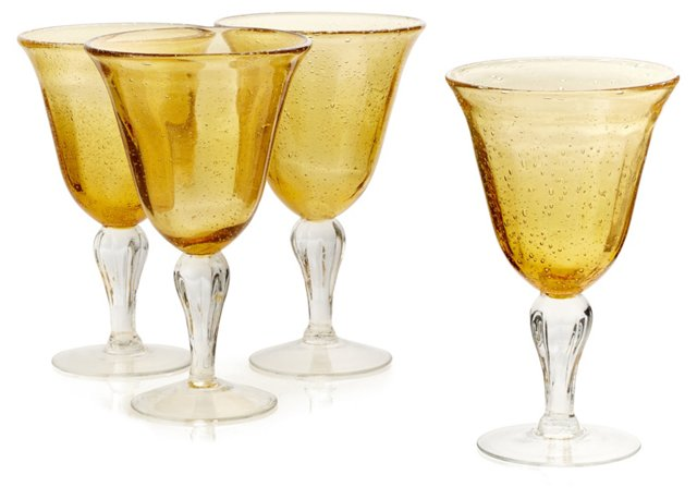 S/4 Bubble Wineglasses, Amber