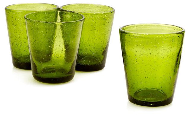 S/4 Bubble Water Glasses, Green