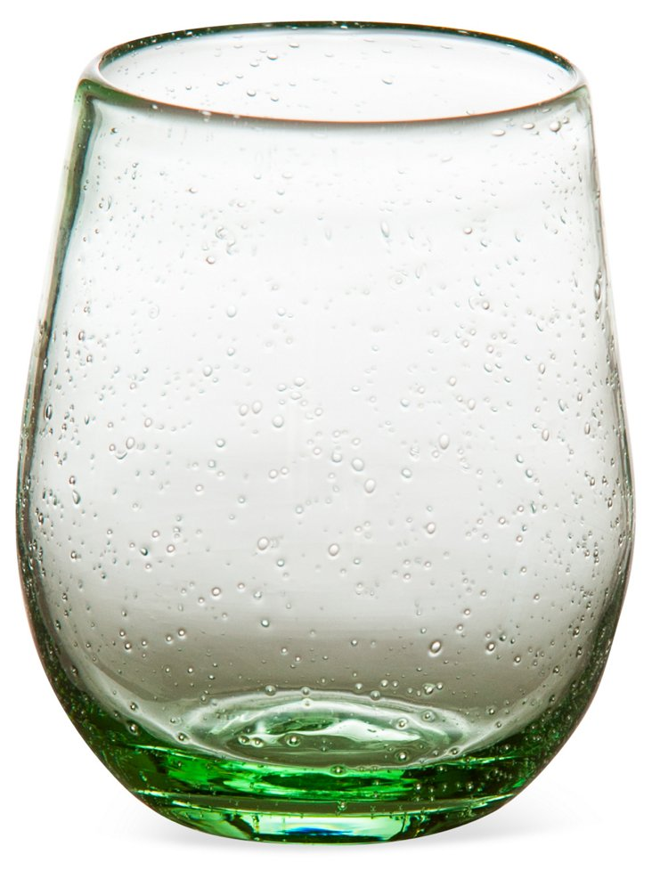 S/4 Bubble Stemless Wineglasses, Green