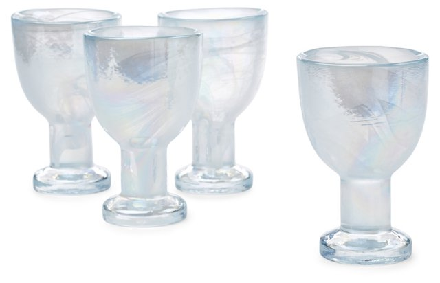 S/4 Marble Ink White-Wine Glasses, Pearl
