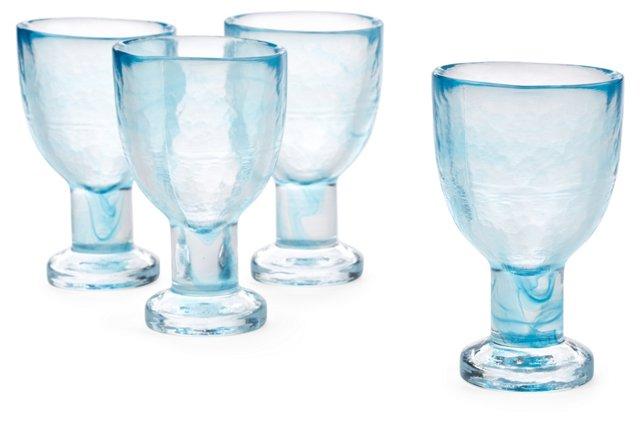 S/4 Marble Ink White-Wine Glasses, Aqua