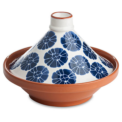 Tagine Flowered Bowl, Blue/White