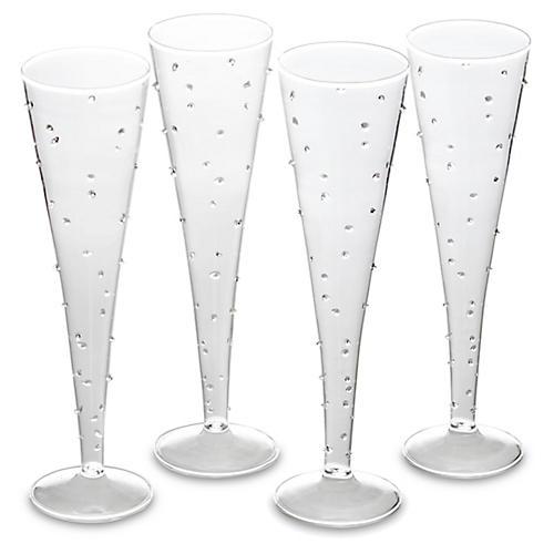 S/4 LaBoheme Champagne Flutes, Clear