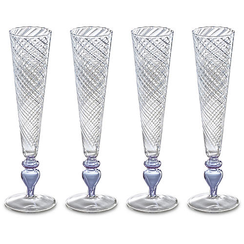 S/4 Isola Champagne Flutes, Lavender