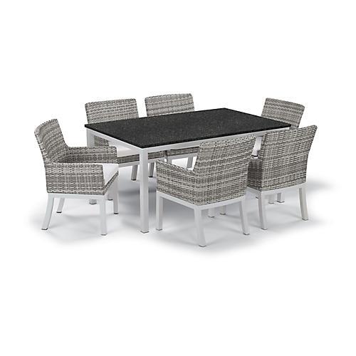 Travira 7-Pc Dining Set, Black/Eggshell