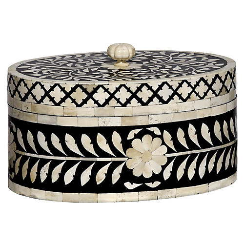 "12"" Imperial Beauty Round Box, Black/White"