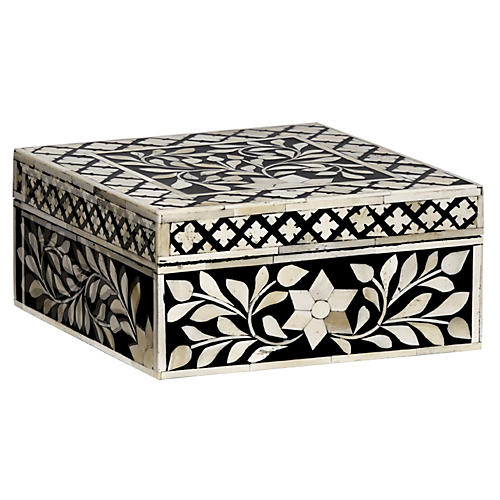 "8"" Imperial Beauty Square Box, Black/White"