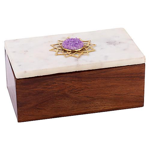 """4"""" Noor Jewelry Box, Brown/White"""