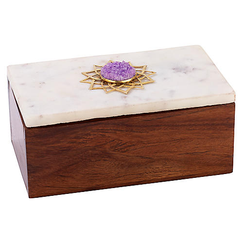"4"" Noor Jewelry Box, Brown/White"