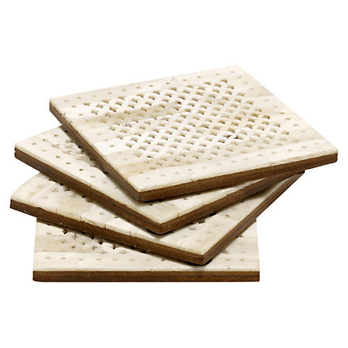 S/4 Chantilly Coasters, Ivory