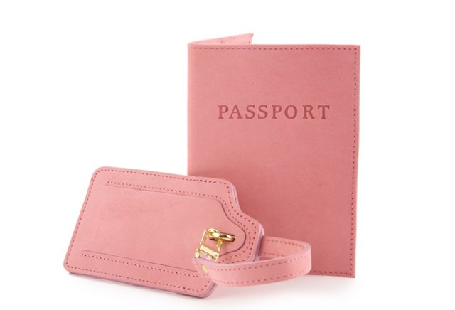 Luggage Tag/Passport Case, Rose