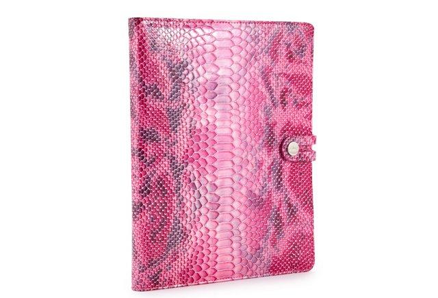 Leather iPad Case, Pink Python