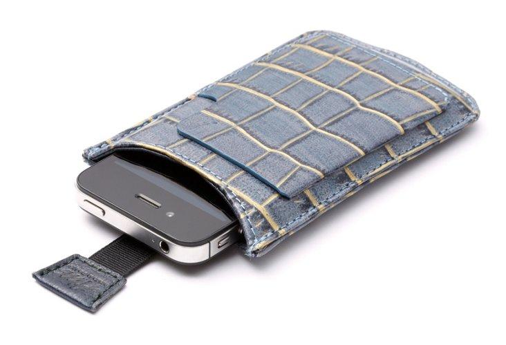 iPhone Sleeve, Denim/Gold Croc