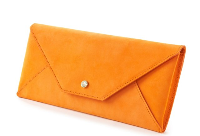 Leather Travel Envelope, Orange