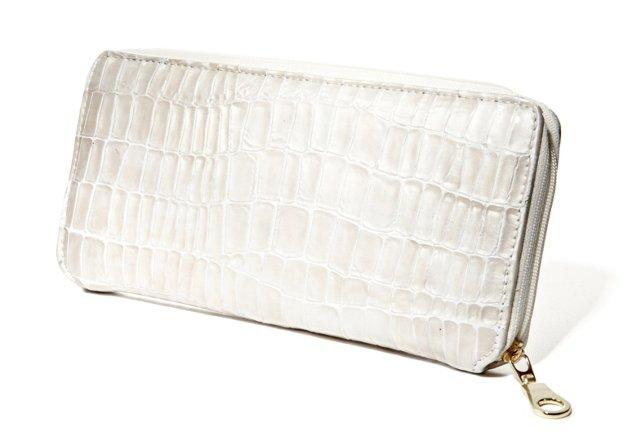 Embossed Zip Wallet, White