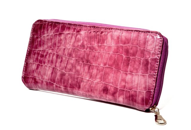 Embossed Zip Wallet, Marbled Fuchsia