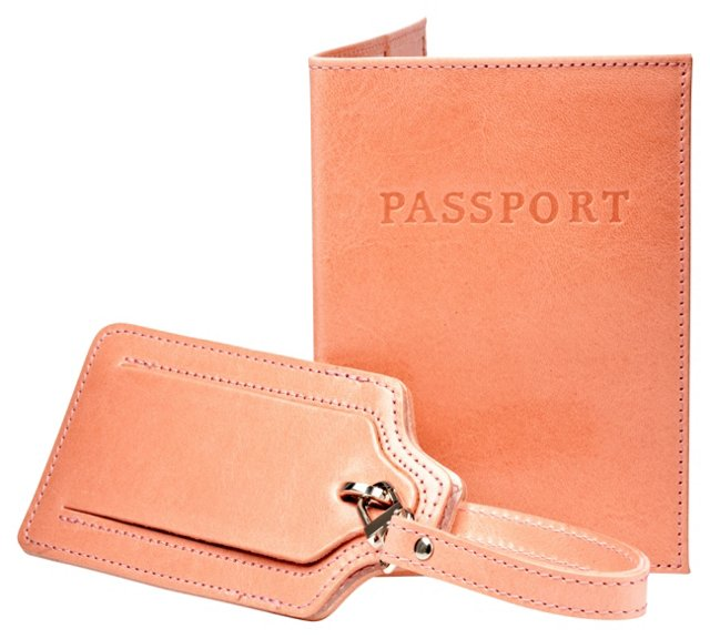 Cowhide Passport/Luggage Tag, Coral