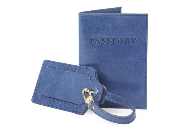 Leather Luggage Tag/Passport Case, Blue