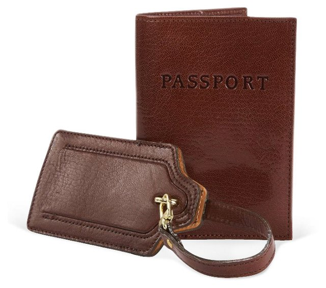 Leather Passport/Luggage Tag, Cocoa