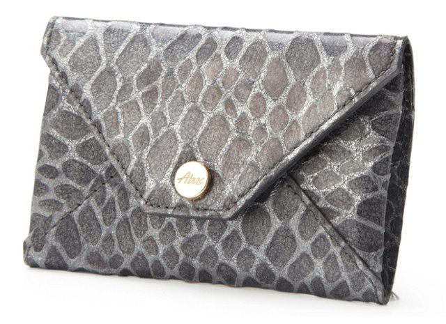 Embossed Card Case, Black/Silver