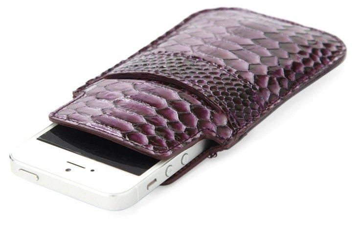 Embossed Leather iPhone 5 Sleeve, Plum