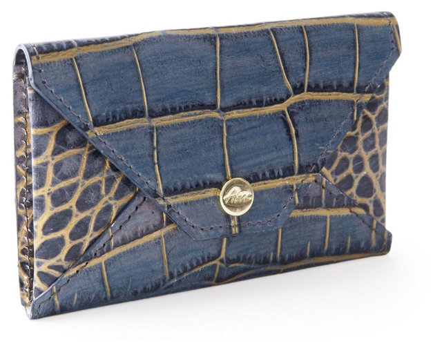 Embossed Card Case, Blue/Gold