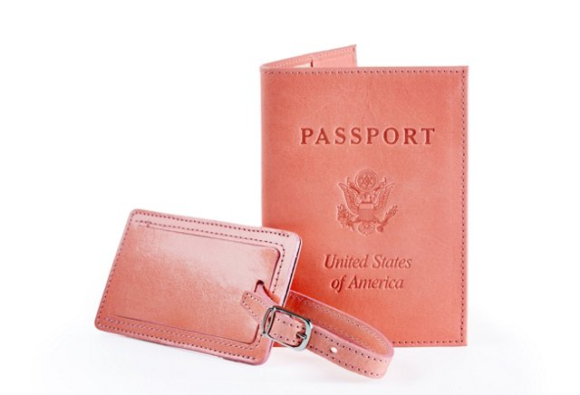 Passport Cover & Luggage Tag, Salmon