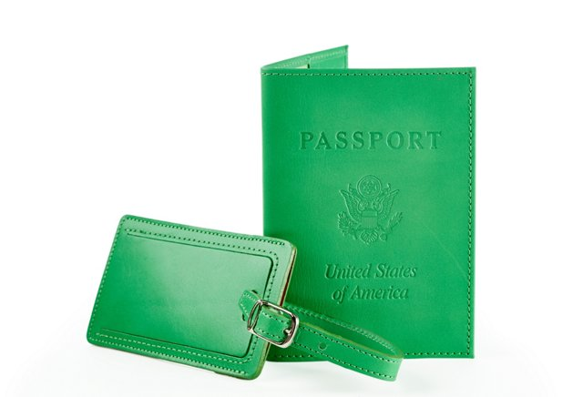 Leather Passport /Luggage Tag, Green
