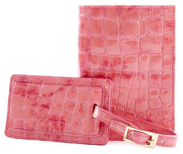Embossed Passport/Luggage Tag, Pink