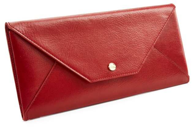 Leather Travel Envelope, Red