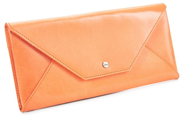 Cowhide Travel Envelope, Light Orange