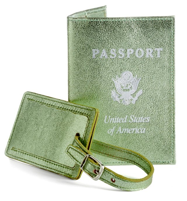 Leather Passport/Luggage Tag, Jade
